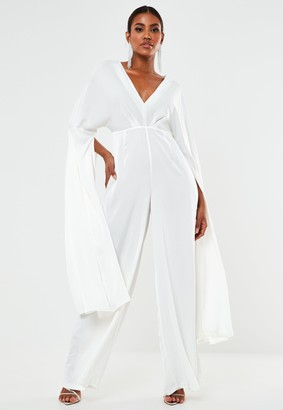 Missguided White Satin Kimono Sleeve Wide Leg Wedding Jumpsuit