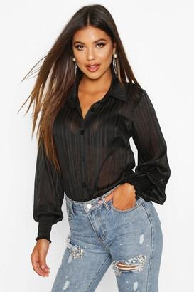 boohoo Stripe Shirred Cuff Shirt