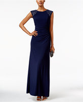 Xscape Evenings Embellished Cap-Sleeve Gown