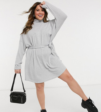 Noisy May Curve jumper dress with high neck and tie waist in grey