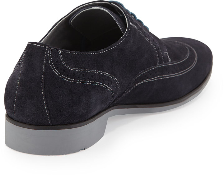 HUGO BOSS Matano Suede Wing-Tip Lace-Up Shoes, Navy