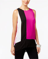 INC International Concepts High-Low Colorblocked Shell, Only at Macy's