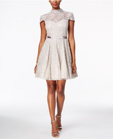 Betsy & Adam Mock-Neck Lace Fit & Flare Dress