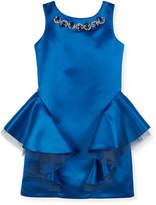 David Charles Sleeveless Embellished Dress w/ Tulle Peplum Detail, Size 8-16