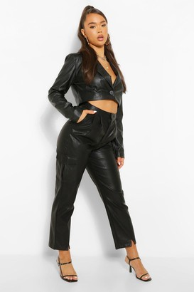 boohoo Faux Leather Split Hem Slim Fit Pants