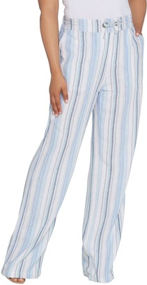 Denim & Co. Linen Blend Pull-on Full Length Striped Pants