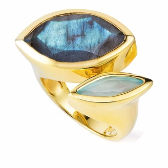 Neola Celestine Gold Ring Labradorite & Chalcedony