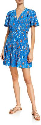 Equipment Lisle Floral Short-Sleeve Mini Dress