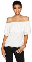 Kensie Women's Knit Off the Shoulder Top Pom Hem