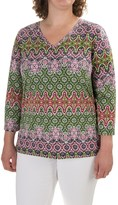 Caribbean Joe Baroque Geo Side-Tie Shirt - 3/4 Sleeve (For Plus Women)