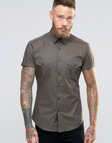 Asos Skinny Military Shirt In Khaki
