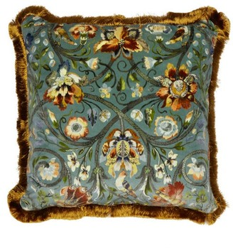 House of Hackney Gaia Large Floral-print Velvet Cushion - Blue Multi