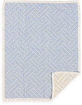 Living Textiles Baby Muslin Jacquard Blanket in Blue Dot