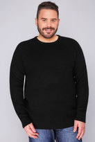 Yours Clothing BadRhino Black Crew Neck Rib Chunky Knit Jumper