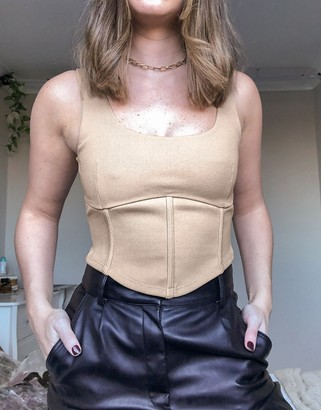 Topshop ribbed corset top in bronze