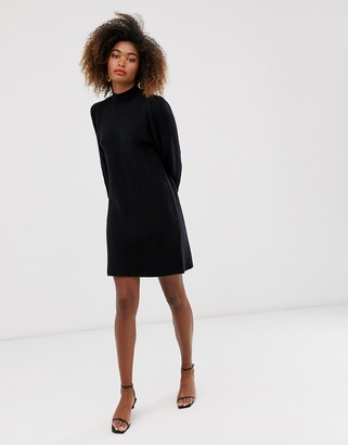 And other stories & puff sleeve marino wool dress in black