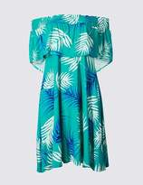 Marks and Spencer Palm Print Half Sleeve Bardot Dress