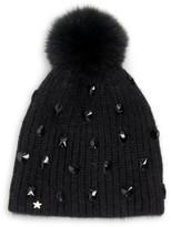 Jocelyn Savage Love Fox Fur Pom-Pom Jewel Knit Beanie