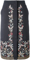 Vilshenko embroidered midi skirt - women - Cotton/Linen/Flax/Acetate/Cupro - 10
