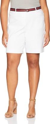 Rafaella Women's Plus Size Belted Supreme Stretch Short