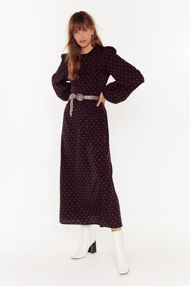 Nasty Gal Womens Spot You Waitin' For Polka Dot Maxi Dress - black - 6