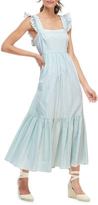 Gal Meets Glam Striped Sleeveless Ruffle Hem Maxi Dress