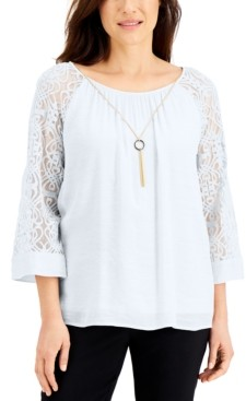 JM Collection Lace-Sleeve Necklace Top, Created for Macy's