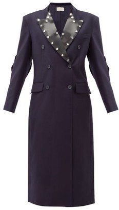 Christopher Kane Latex-panel Double-breasted Wool Coat - Womens - Navy