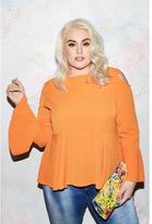 Quiz Curve Orange Bell Sleeve Cold Shoulder Top
