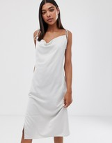 Weekday cami dress with cowl neck in light grey