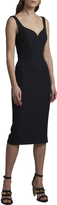 Alexander McQueen Fitted-Waist Sleeveless Midi Dress