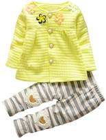 XWDA Baby Girls' Pearl Button Coat + Stripe Legging Pants outfit(12-18 Months, )
