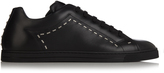 Fendi Face-embellished low-top leather trainers