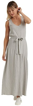 Lucky Brand Sleeveless Crew Neck Eliza Belted Maxi Dress (White/Navy) Women's Clothing