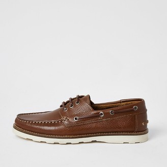 River Island Brown leather boat shoes
