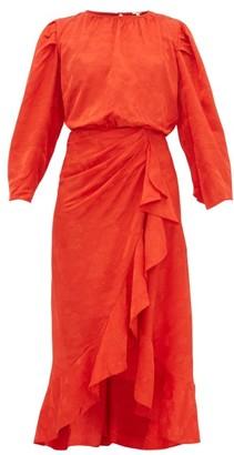 Johanna Ortiz Cuentos Y Relatos Jacquard-satin Midi Dress - Womens - Red