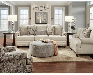 Overstock Capernicus Beige Paisley Print Accent Chair