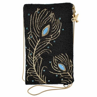 Mary Frances Disney Live Action Aladdin Peacock Feathers Crossbody Phone Bag Black