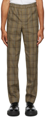 Helmut Lang Beige and Black Wool Plaid Pull-On Trousers