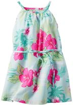 Carter's Girls 4-8 Tropical Flower Print Light Blue Dress