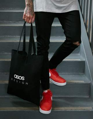 Asos DESIGN tote bag in black organic cotton with branded print