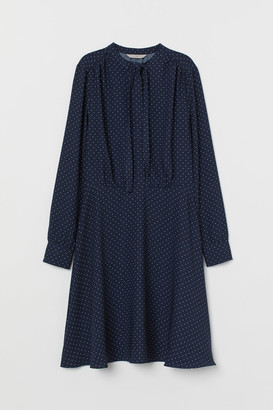 H&M Creped Dress with Ties - Blue