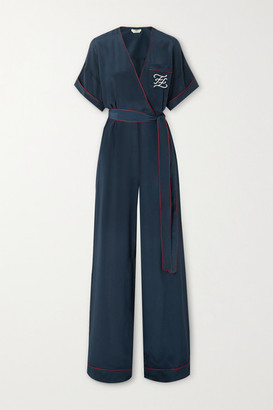 Fendi Tuta Belted Wrap-effect Embroidered Silk Jumpsuit - Navy
