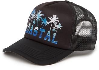 Coastal Palm Tree Mesh Trucker Cap