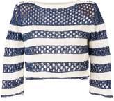 Balmain striped open knit jumper