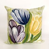 Liora Manné Visions III Tulips Cool Square Throw Pillow in Purple/Green