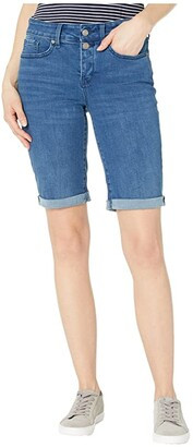 NYDJ Briella Denim Shorts with Mock Fly and Roll Cuff in Nevin (Nevin) Women's Shorts
