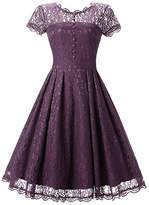 BeneGreat Women's Vintage Floral Lace Cap Sleeve Rockabilly Cocktail Party Swing Bridesmaid Dress XL