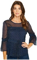 Lucky Brand Shirred Peasant Top Women's Long Sleeve Pullover