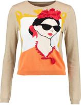 Alice + Olivia Stacey Frida appliquéd crystal-embellished cotton-jacquard sweater